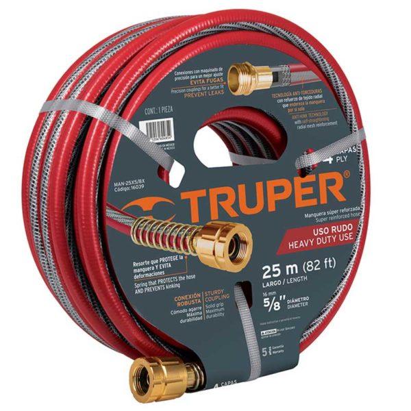 Manguera de Jardín Truper 5/8 Super Reforzada 4 Capas Roja, 82' (16039)