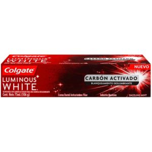 Pasta Dental Colgate Luminous White Carbón Activado, 106 g
