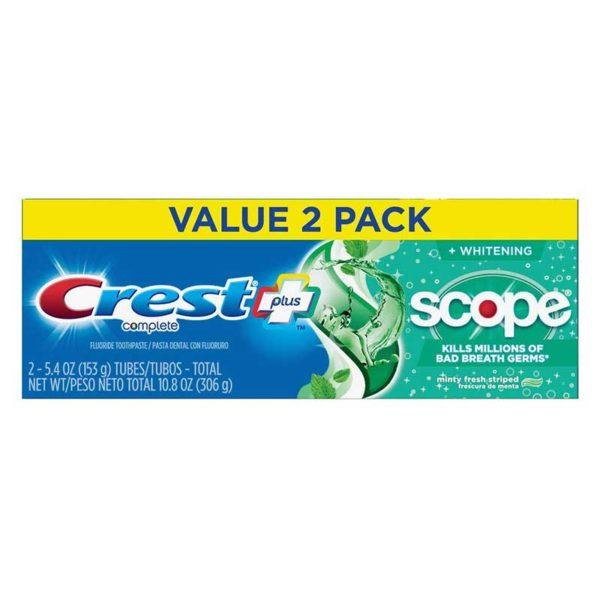 Pasta Dental Crest Complete Plus + Scope Menta Fresca, 5.4 oz x 2 uds