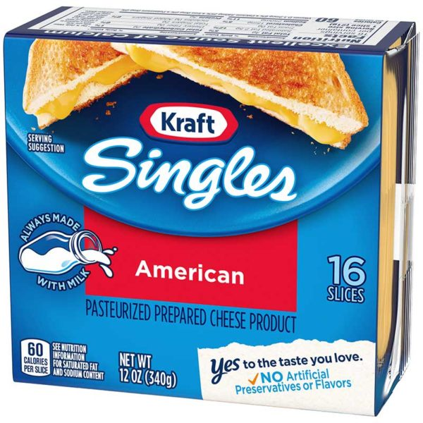 Queso Americano Rebanadas Individuales Kraft, 12 oz (16 uds)
