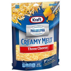 Queso Kraft Rallado Tres Quesos con Toque de Philadelphia, 8 oz