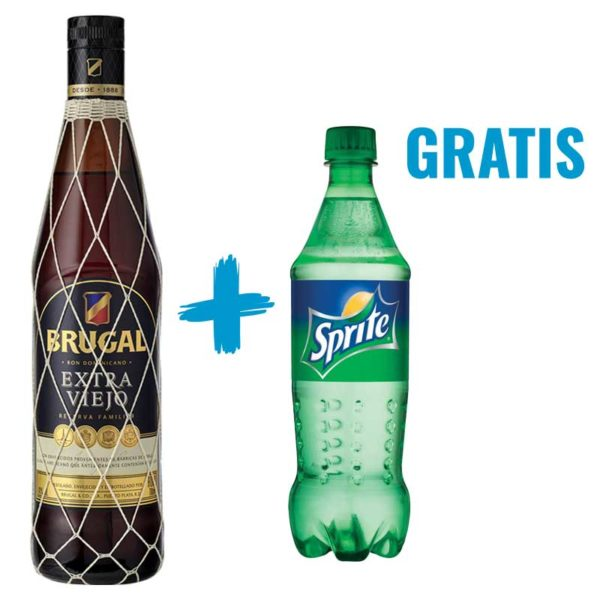 Ron Brugal Extra Viejo Reserva Familiar, 700 ml + Refresco Sprite, 20 oz (OFERTA)