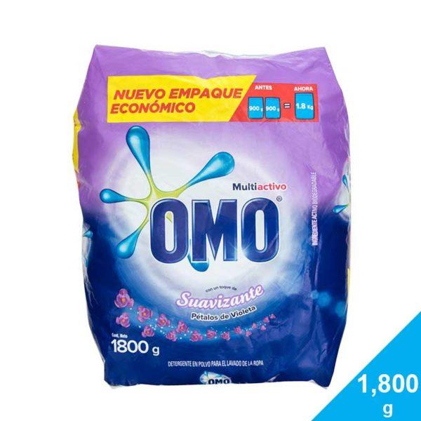 Detergente OMO Multiactivo con Toque de Suavizante Pétalos de Violeta, 1,800 g