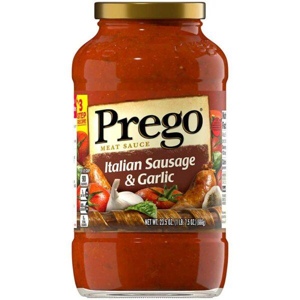 Salsa de Carne Prego Salchicha Italiana y Ajo, 23.5 oz