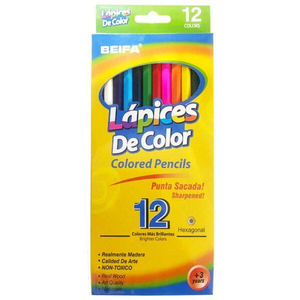Lápices de Colores Beifa Largo (12 uds)