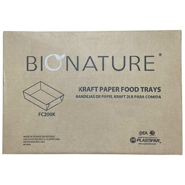 Bandeja Cartón Kraft Bionature 2 lbs, Caja (4 x 250 uds)